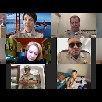 Nevada's Finest shows up for their online morning briefing on Reno 911!, courtesy of Quibi.