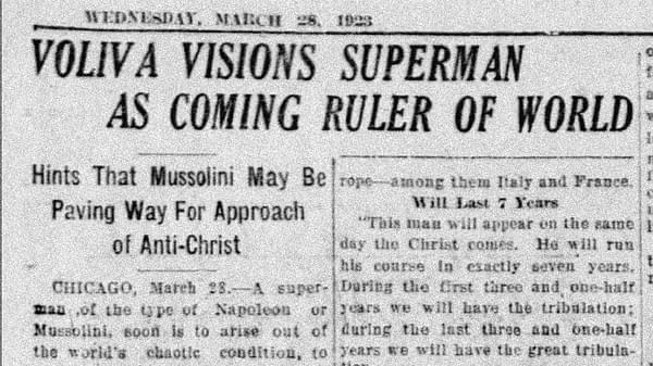 Superman as Coming Ruler of World clipping, The Akron Beacon Journal, 28 Mar 1923, via newspapers.com.