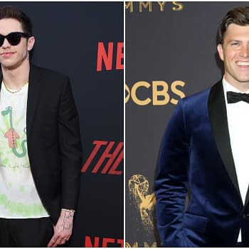 L-R: Pete Davidson arrives for the Netflix 'The Dirt' Premiere on March 18, 2019 in Hollywood, CA. Editorial credit: DFree / Shutterstock.com | Colin Jost at the 69th Primetime Emmy Awards - Arrivals at the Microsoft Theater on September 17, 2017 in Los Angeles, CA. Editorial credit: Kathy Hutchins / Shutterstock.com