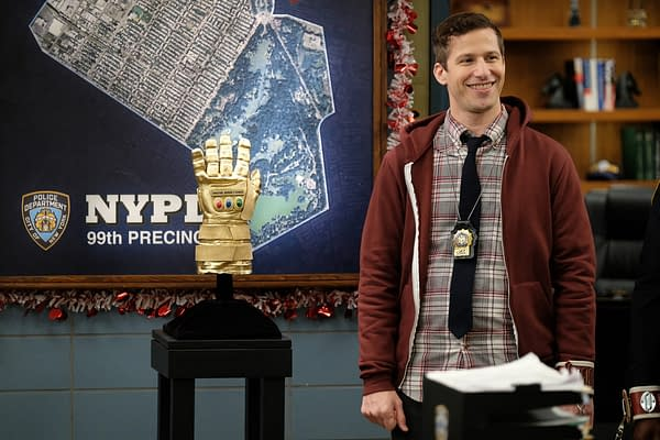 """Jake unveils the """"prize"""" for the heist competition on Brooklyn Nine-Nine, courtesy of NBCUniversal."""