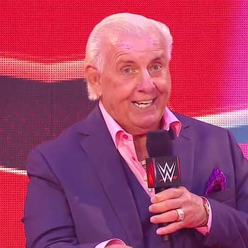 Ric Flair is on WWE Raw in the middle of a coronavirus pandemic for some reason. (Image: WWE)