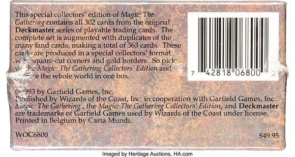 The rear of the Magic: the Gathering Collector's Edition box presently on auction at Heritage Auctions.