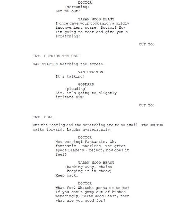 Robert Shearman's second page of script extracts from Doctor Who, courtesy of BBC.