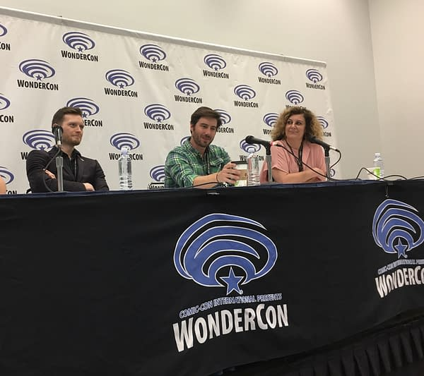 """Simon Spurrier, Kurt Lustgarten, and Kirsten """"Kiwi"""" Smith"""