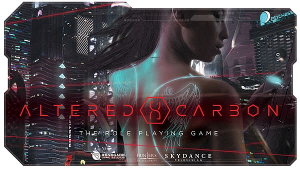 The main hype image for Renegade Game Studio's Kickstarter campaign for Altered Carbon.