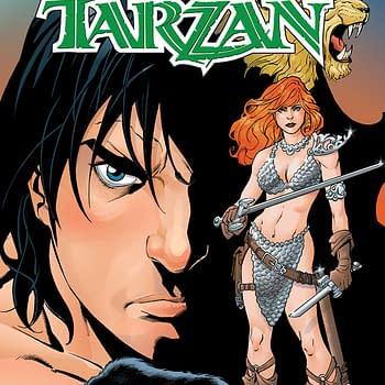 Red Sonja/Tarzan #4 cover by Aaron Lopresti