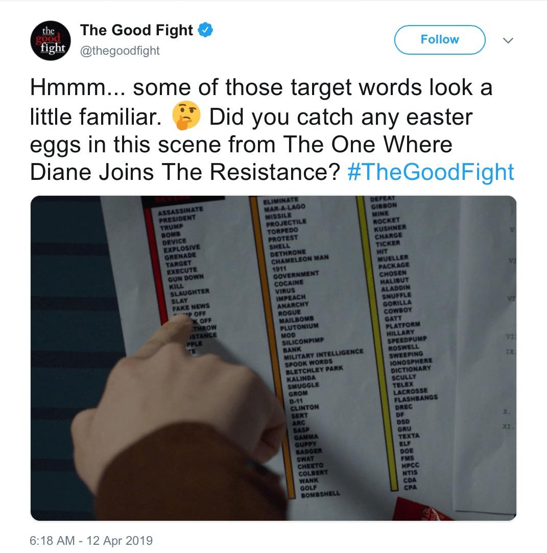 Did CBS All Access' 'The Good Fight' Tweet Veiled Trump Threat?