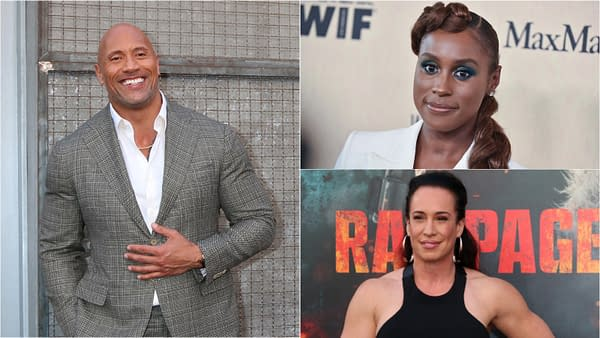 Dwayne Johnson aka WWE wrestling superstar The Rock, Issa Rae, and Dany Garcia are teaming up for HBO backyard wrestling series Tre Cnt, courtesy Kathy Hutchins as well as DFree via Shutterstock.com.