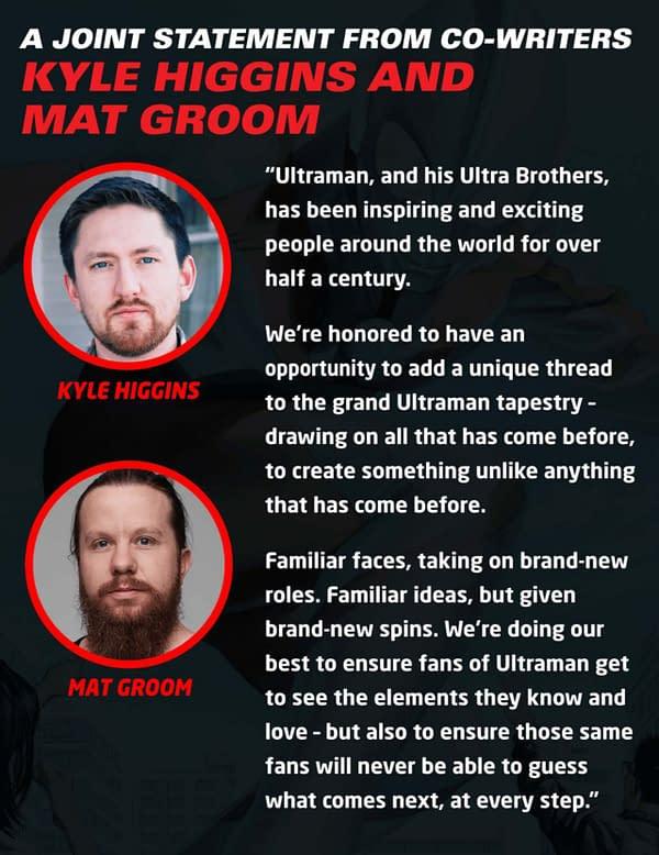 Kyle Higgins and Mat Groom's co-writer statement on Ultraman. Credit: Marvel Comics.