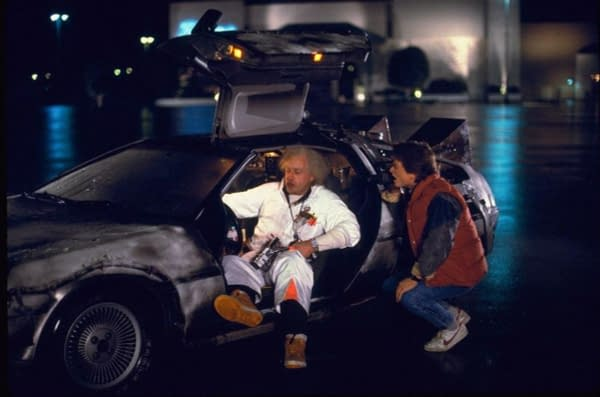 Christopher Lloyd and Michael J. Fox in Back to the Future. Image courtesy of Universal Pictures