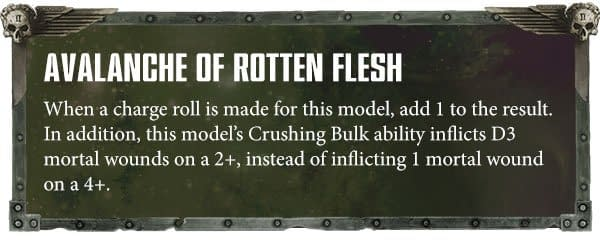 Avalanche of Rotten Flesh, an ability for the Exalted Great Unclean One. Usable in a Nurgle Chaos Daemons army in Warhammer 40,000.