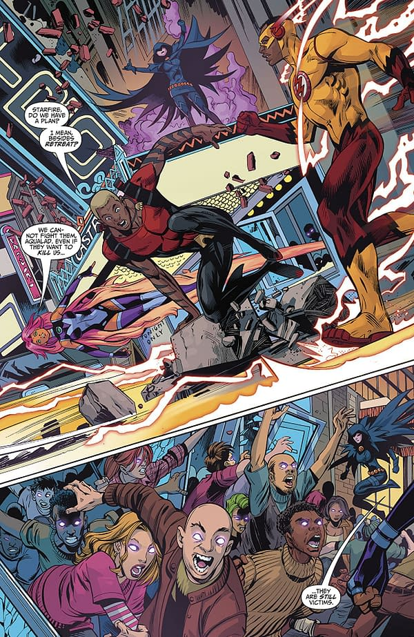 Teen Titans #19 art by Scot Eaton, Wayne Faucher, and Jim Charalampidis