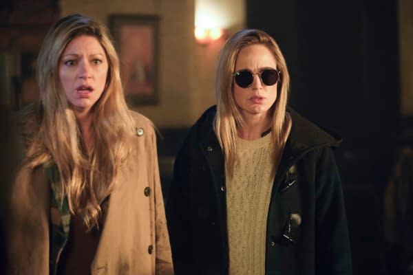 Jes Macallan as Ava Sharpe and Caity Lotz as Sara Lance/White Canary -- Photo: Jeff Weddell/The CW -- © 2020 The CW Network, LLC. All Rights Reserved.