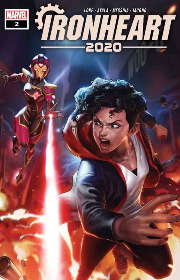 The cover of 2020 Ironheart #2 published by Marvel Comics with the creative team of Vita Ayala, Danny Lore, David Messina, Mattia Iacono, and Joe Caramagna.