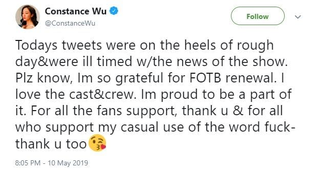 "Fresh Off the Boat's Constance Wu: Tweets on ""Heels of a Rough Day & Were Ill Timed"""
