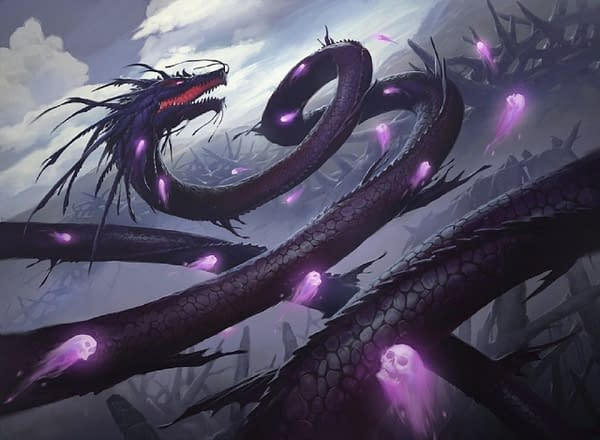 The artwork for Kokusho, the Evening Star, a legendary creature from Champions of Kamigawa, a set for Magic: The Gathering. Illustrated by Slawomir Maniak in his Iconic Masters iteration, shown here. Kokusho is one of many cards affected by this rule change.