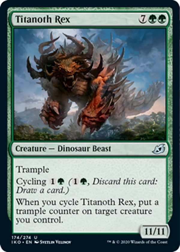 Titanoth Rex, a new card from the Ikoria: Lair of Behemoths set for Magic: The Gathering.