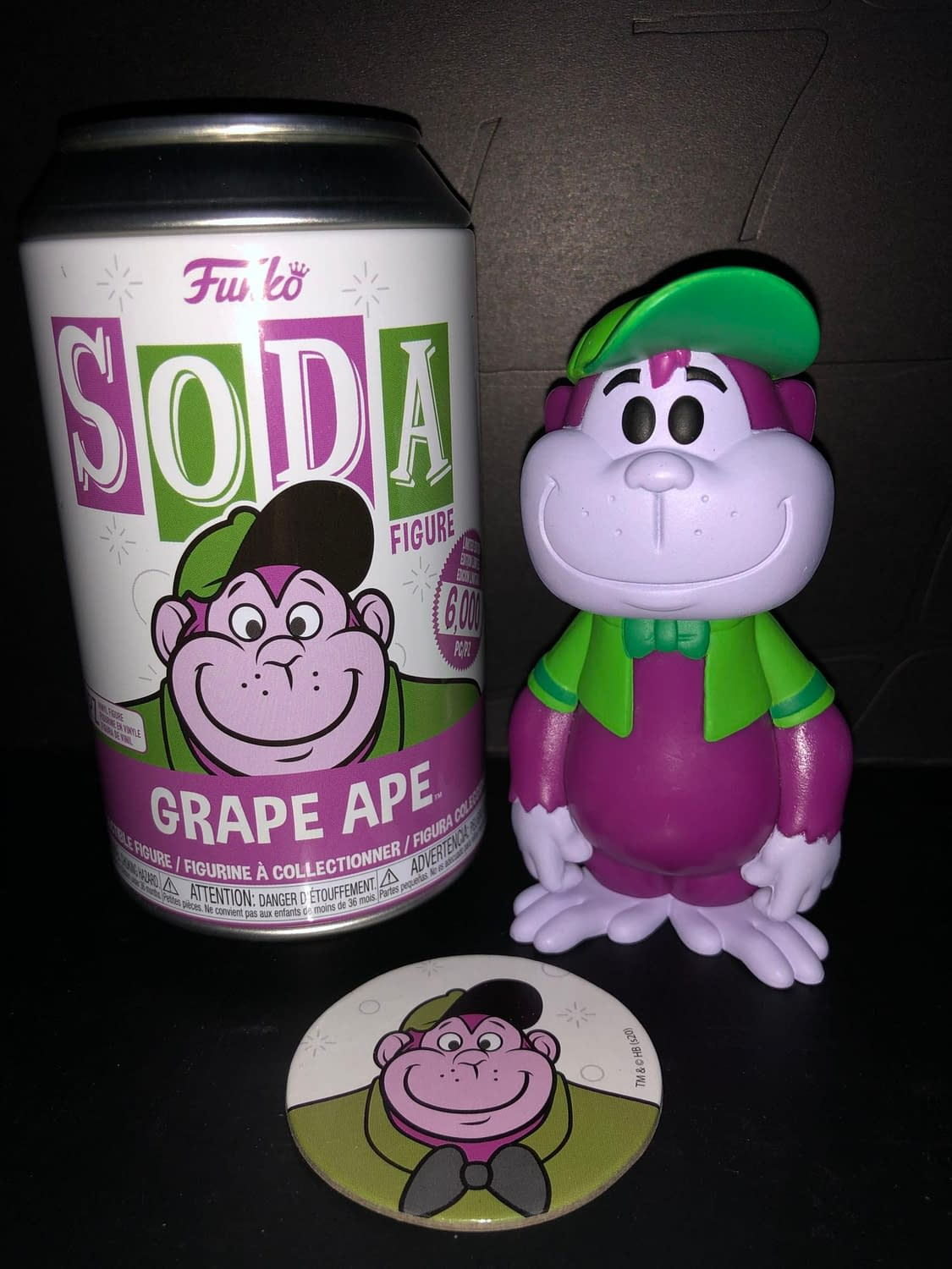 Funko Soda Vinyl Figure The Grape Ape Show Great Ape figure and can front view.
