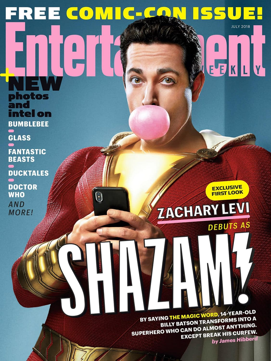 Shazam! is on the Cover of the EW Comic-Con Issue