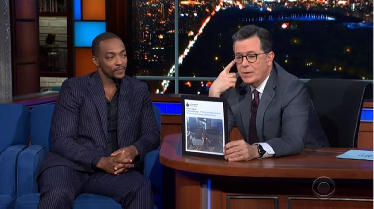 """""""The Falcon and the Winter Soldier"""" Shoot """"Almost Done""""; Anthony Mackie: """"The Shield Is in Good Hands""""; Stephen Colbert Reminds Him Who New Falcon REALLY Is [VIDEO]"""