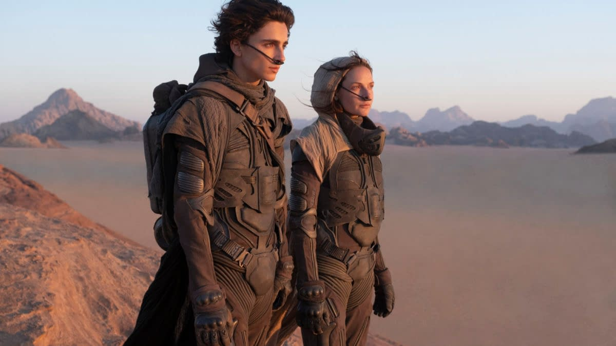 "Copyright: © 2020 Warner Bros. Entertainment Inc. All Rights Reserved. Photo Credit: Chiabella James Caption: (L-r) TIMOTHÉE CHALAMET as Paul Atreides and REBECCA FERGUSON as Lady Jessica Atreides in Warner Bros. Pictures and Legendary Pictures' action adventure ""DUNE,"" a Warner Bros. Pictures release."