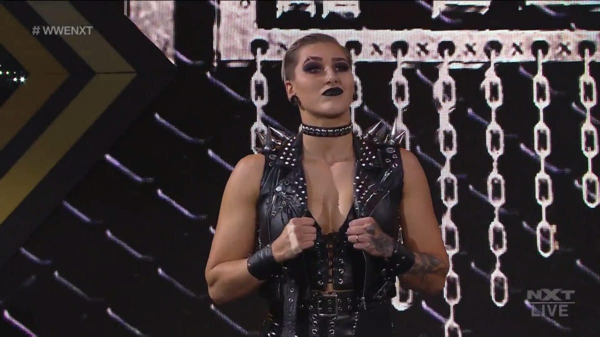 Rhea Ripley appears on NXT.