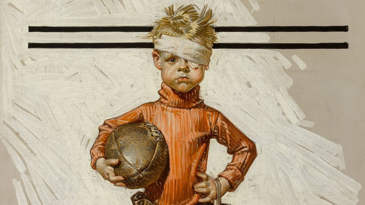 "J.C. Leyendecker November 21, 1914 issue of The Saturday Evening Post, titled ""Beat-up Boy, Football Hero"""