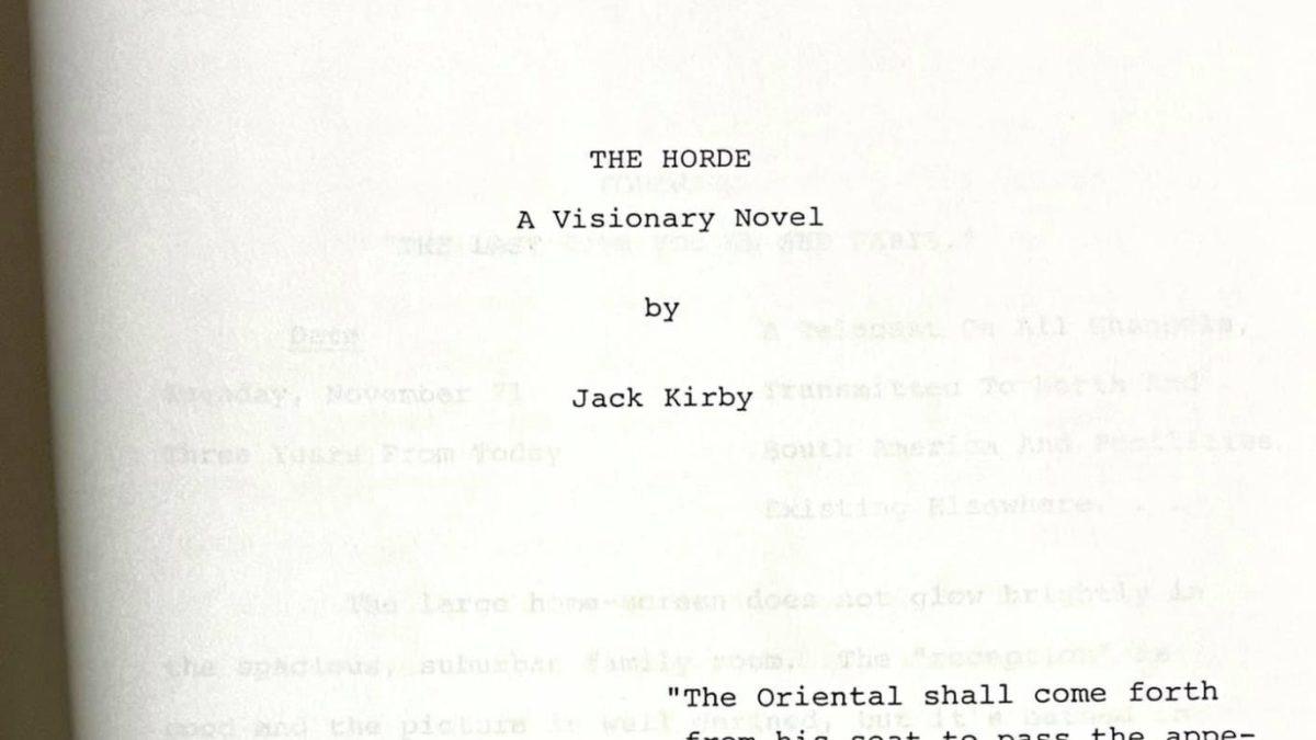 Chuck Rozanski Gets Jack Kirby's Unpublished Bovel, The Horde.