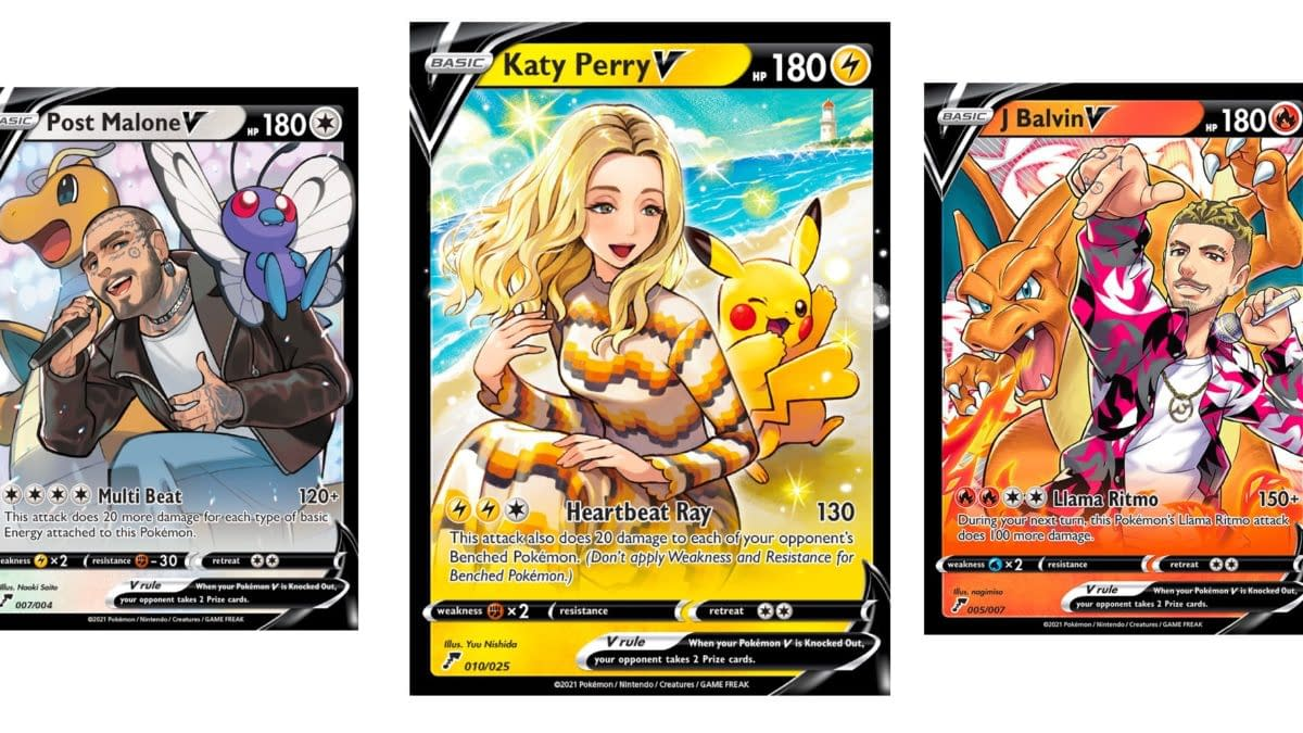Katy Perry, Post Malone, & J Balvin Feature on Pokémon Cards