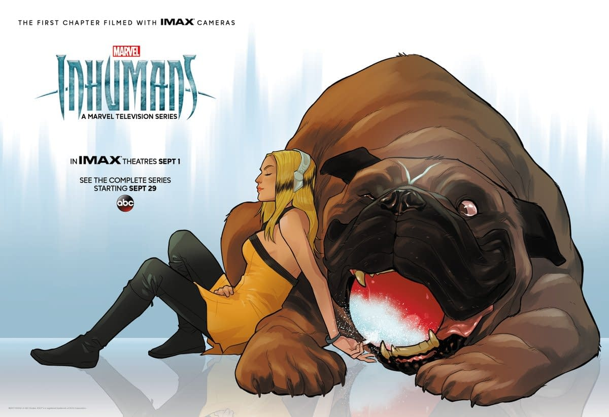 Karl Kerschl Draws Crystal And Lockjaw For Marvel's Inhumans Exclusive IMAX Poster