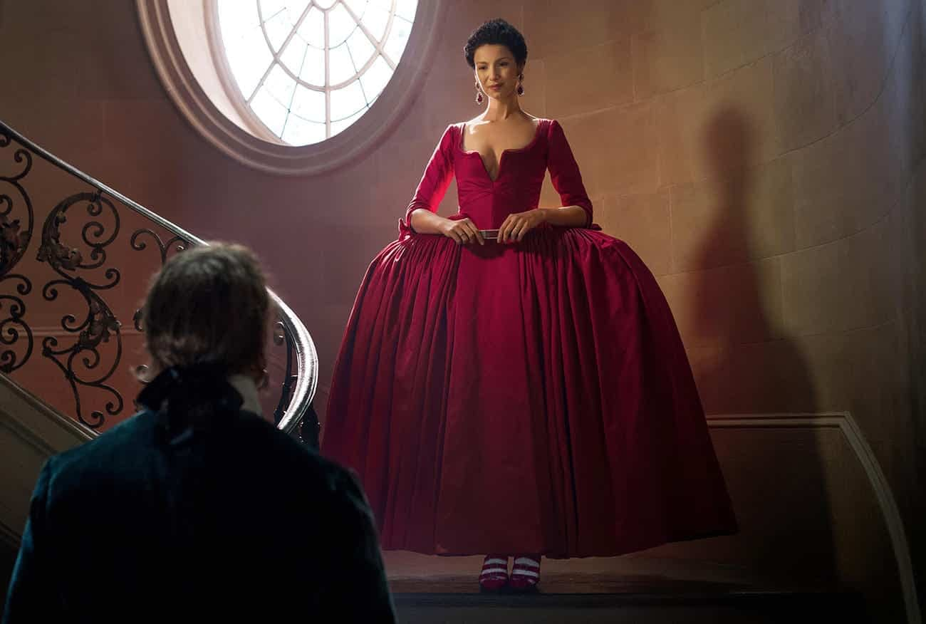 Actress Caitriona Balfe as Claire in the scandalous red dress from the show