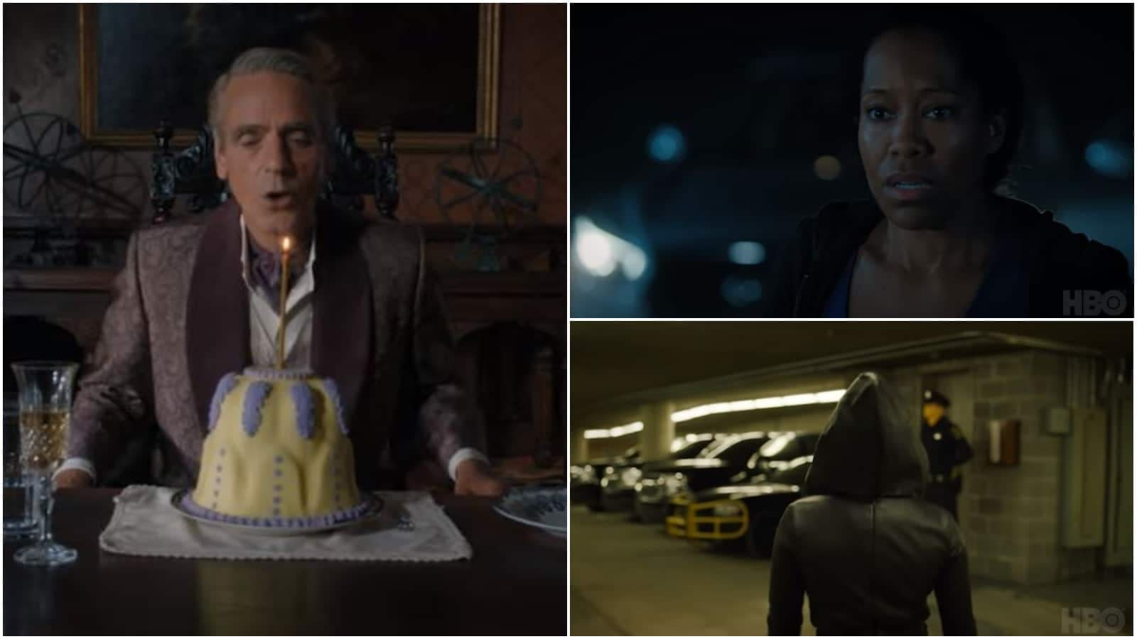 'Watchmen': Jeremy Irons Blows Out Candle on Interesting Cake, Regina King Looks Concerned, and More [VIDEO]