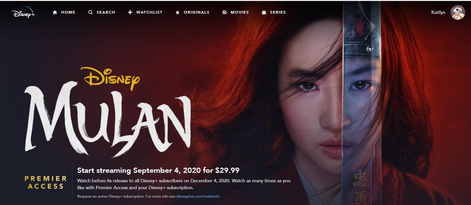Mulan Will Be Available for Free on Disney+....Eventually