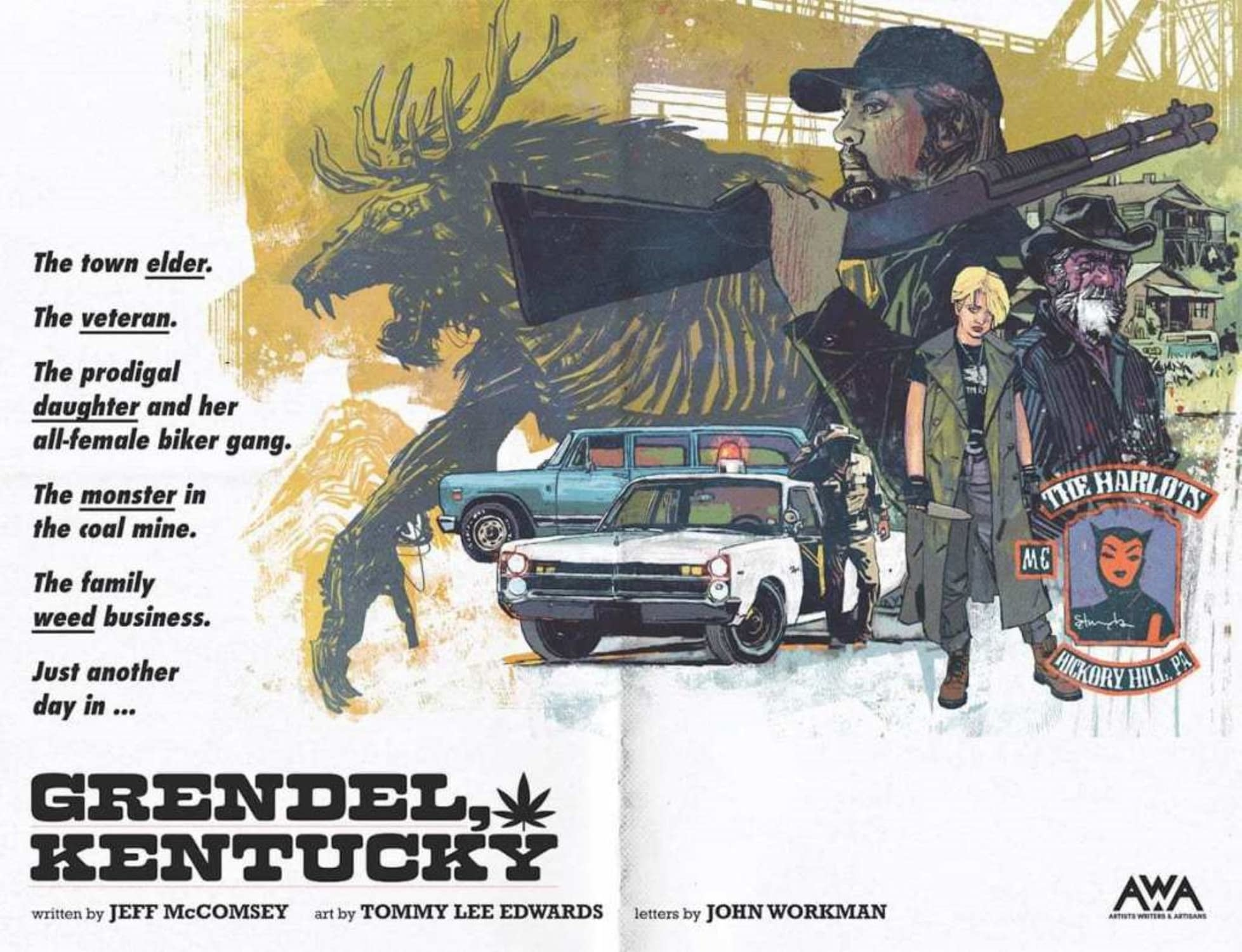 """Tommy Lee Edwards Draws Cannabis Comic For AWA - """"Grendel, Kentucky"""""""