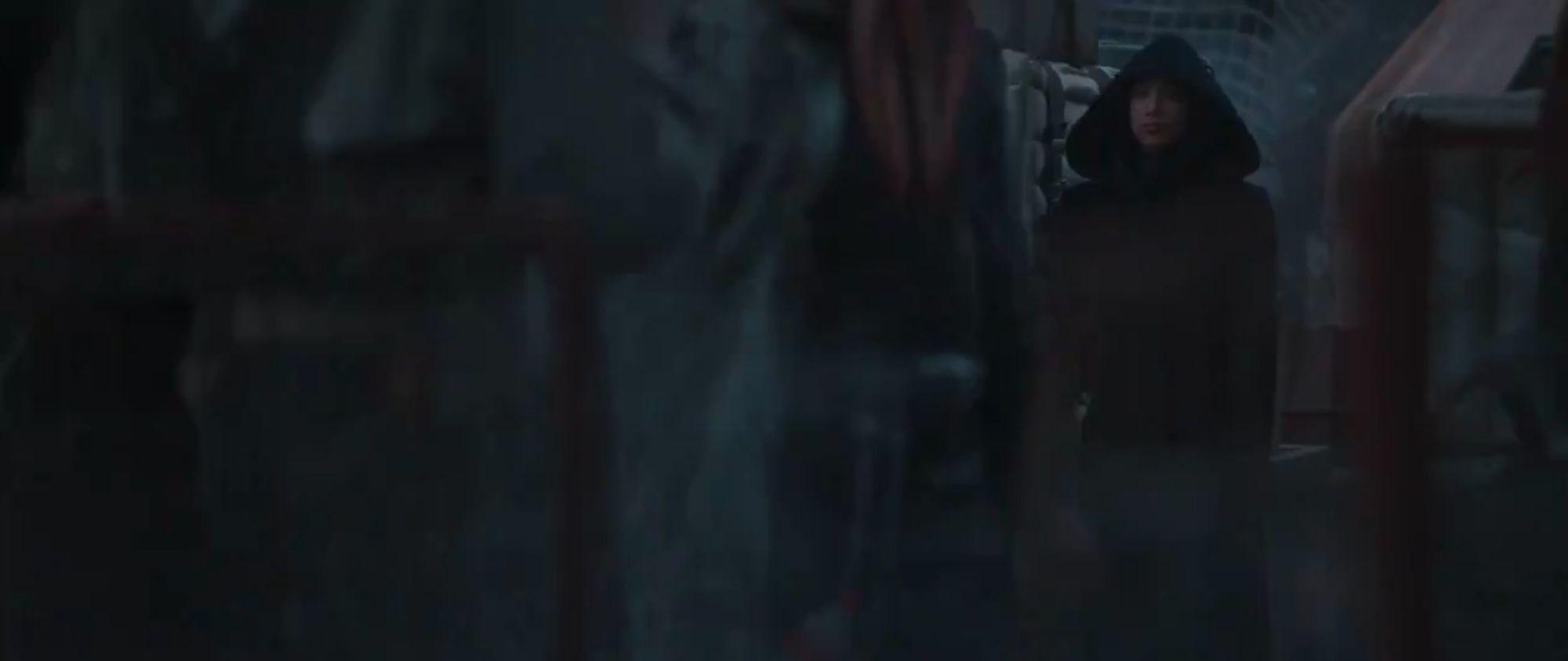 A screencap from The Mandalorian Season 2 trailer featuring Sasha Banks.