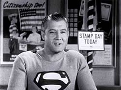 """Actor George Reeves as Superman in the U.S. government film """"Stamp Day for Superman."""" 1954. Source/Author: United States Treasury Department."""