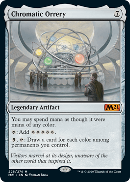 Chromatic Orrery, a new card from Core 2021, the upcoming expansion set for Magic: The Gathering.