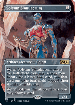 Solemn Simulacrum, a reprinted card from Core 2021, an upcoming set for Magic: The Gathering. Shown here in its Showcase version.