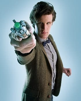 matt smith as doctor who with the sonic screwdriver
