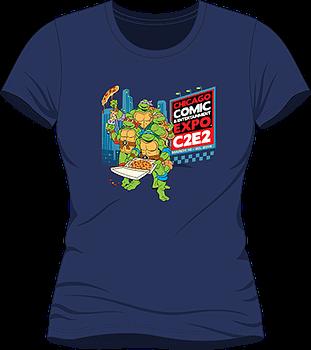 C2E2-Teenage-Mutant-Ninja-Turtles-Pizza-Party-T-Shirt-Womens