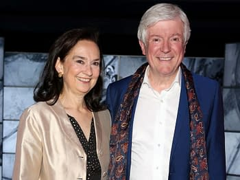 """London, United Kingdom - May 9, 2019: Tony Hall and Cynthia Hall attend a private view of """"Stanley Kubrick: The Exhibition"""" at The Design Museum in London, England. / Cubankite / Shutterstock.com"""