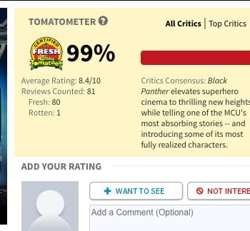 Trumps America Spoils Black Panthers 100% Rotten Tomatoes Score