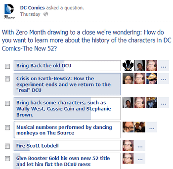 DC's New 52 Facebook Poll Backfires Just A Bit