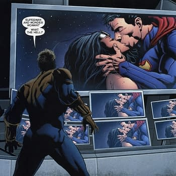 Booster Gold Takes On The Superman / Wonder Woman Kiss