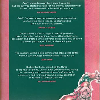DCs Green Lantern #20 Tribute To Geoff Johns From Neil Gaiman Jim Lee Richard Donner Mark Strong And&#8230 Mrs Geoff