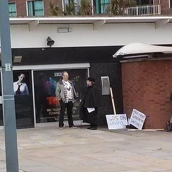 Caught On Camera: Fifth Sixth And Seventh Doctors Protesting Lack Of Classic Who In 50th Anniversary