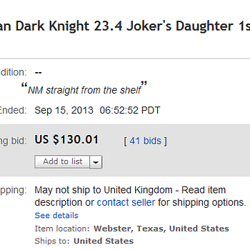 Jokers Daughter Rocketing In Price On eBay Hits $130