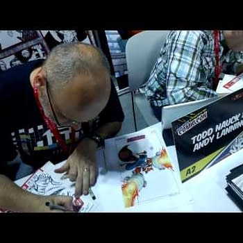 NYCC Through Google Glass &#8211 Getting A Rocket Raccoon Sketch From Andy Lanning