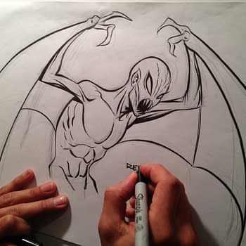 Three Minutes of Dean Haspiel Inking An Impromptu Incubus by Frank Reynoso Scored By Barry White