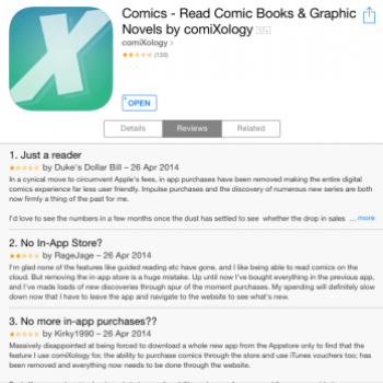 ComiXology App Now On One-And-A-Half Stars